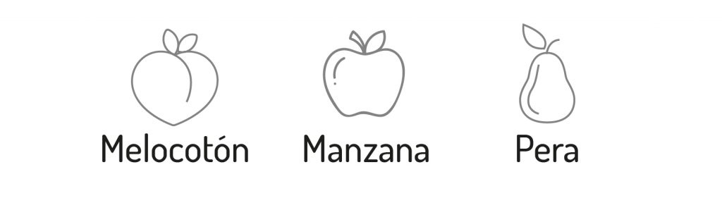 melocoton manzana pera